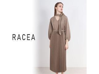 RACEA/ラシア Vネックプリーツタイ付ワンピース グレージュ 20500301