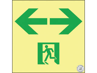 J.G.C./日本緑十字社 高輝度蓄光避難誘導ステッカー標識 非常口⇔ 150×150 S級認定品 364953