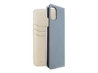 LORNA PASSONI ロルナパッソーニ German Shrunken Calf Folio Case for iPhone 11 [Light Blue×Milkshake white] LPLBMFLIP1961 納期5月中旬 【正規代理店】 【品質保証ポリシー付きケース】