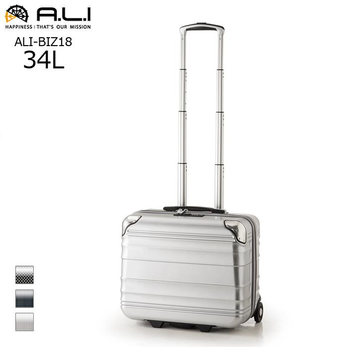 A.L.I/アジア・ラゲージ ALI-BIZ18 機内持ち込み可 横型 ビジネスファスナーキャリーケース【34L】<シルバーブラッシュ>