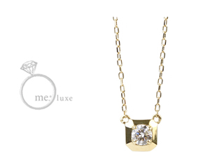 me.luxe/エムイーリュークス 0.1ctスクエア&ダイヤモンドネックレス ダイヤモンド ダイヤ 高級 ネックレス ペンダント ジュエリー プレゼント ギフト 包装 記念日