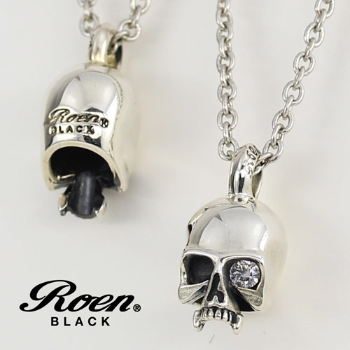 Roen BLACK/ロエンブラック RoenBLACK スカルチャームネックレス (シルバー925/フブラス) RO-002 【新品】 メンズアクセサリー 【正規品】 【RBLACKNC】
