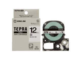 12mm白に黒文字 4年保証 KINGJIM キングジム SS12K 白 輸入 テプラPRO用テープ 黒文字
