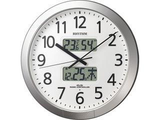 RHYTHM/リズム時計 4FN404SR19 【プログラムカレンダー404SR】 電波掛時計 シルバーメタリック色(白)/温湿度・カレンダー