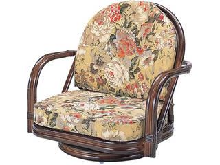 【代引不可商品】籐回転座椅子ロータイプ   H28S775B