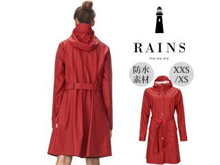 RAINS/レインズ 本格防水■レインジャケットカーブジャケット【スカーレット】Curve Jacket Scarlet XXS/XS 防水 撥水 レインコート 雨 雪 男女兼用 雨具 合羽