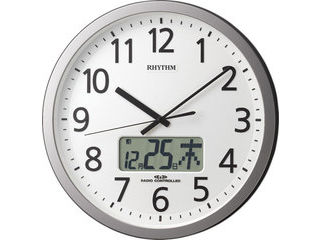 RHYTHM/リズム時計 4FN405SR19 【プログラムカレンダー405SR】 電波掛時計 シルバーメタリック色(白)/ステップ秒針/