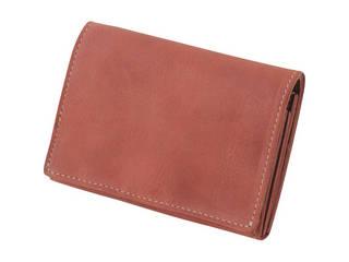 m、i、u、o.j m、i、u、o.j ヌメ革 二つ折り財布 レッド  OJ-4022
