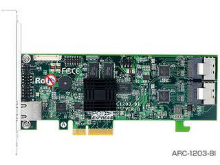 ARECA SerialATA III RAIDカード8ポート版 PCI-Express x 4 FOケーブル付 ARC-1203-8I