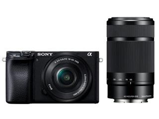 SONY/ソニー ILCE-6400Y-B(ブラック) α6400 ダブルズームレンズキット デジタル一眼カメラ APS-Cセンサー搭載/約2420万画素/ISO100-32000/4K動画記録30P/有機ELファインダー/自分撮り対応タッチ液晶
