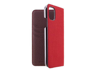 LORNA PASSONI ロルナパッソーニ LORNA PASSONI - German Shrunken Calf Folio Case for iPhone 11 [Red×Dark Brown] LPRDBFLIP1961 【正規代理店】 【品質保証ポリシー付きケース】
