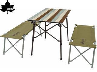 フレームをひろげるだけの簡単組立て!家族で使えるテーブルセット。 LOGOS/ロゴス LOGOS Life オートレッグベンチテーブルセット4 (ヴィンテージ) 73188002