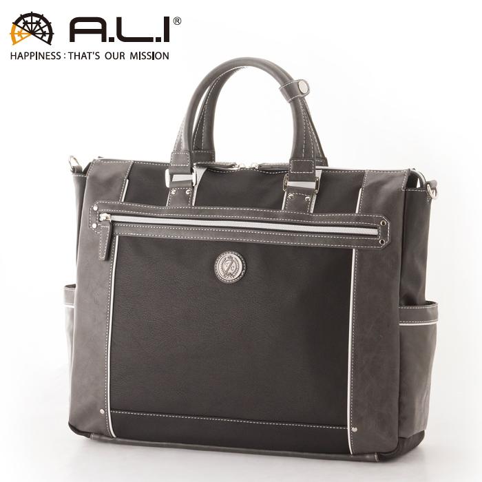 A.L.I/アジア・ラゲージ TC-3450 Tom Chris メンズ 合皮ビジネストートバッグ (ブラック・グレー)