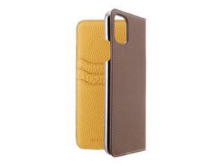 LORNA PASSONI ロルナパッソーニ German Shrunken Calf Folio Case for iPhone 11 Pro Max [Taupe×Yellow] LPTPYFLIP1965 【正規代理店】 【品質保証ポリシー付きケース】