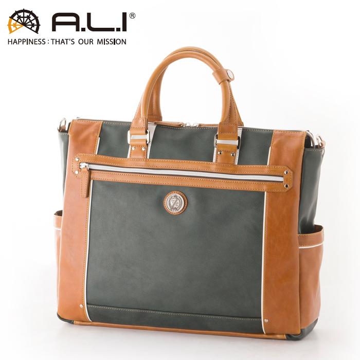 A.L.I/アジア・ラゲージ TC-3450 Tom Chris メンズ 合皮ビジネストートバッグ (グリーン・キャメル)