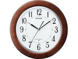 ※メーカー在庫限りの為、完売の際はご容赦下さい。 RHYTHM/リズム時計 【メーカー在庫限り】8MY461SR06 【リバライトF461SR】 電波掛時計  茶色半艶仕上(白) 連続秒針/夜眠る秒針/ライト付