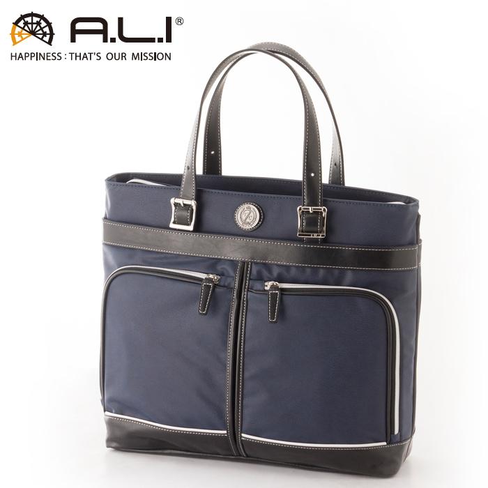 A.L.I/アジア・ラゲージ TC-3451 Tom Chris メンズ 合皮 フロントダブルポケット ビジネストートバッグ (ネイビー・ブラック)