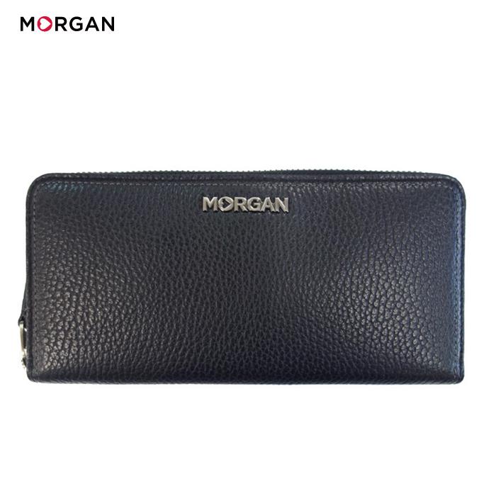 MORGAN/モルガン MR1003 ラウンドファスナー レザー ロングウォレット メンズ レディース ユニセックス (ブラック) /長財布