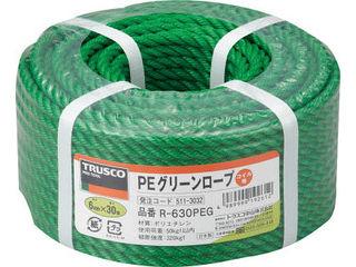 TRUSCO トラスコ中山 PEグリーンロープ 線径6mmX長さ30m SEAL限定商品 R-630PEG 3つ打 通信販売