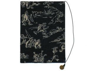 全品日本製 DON HIRANO ドン 格安激安 ヒラノ 店内全品対象 全て手作り 日本製 文庫判 鳥獣戯画 19614DB ブックカバー 布生地使用
