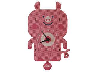 modern moose/モダン ムース PCPEN029 Pig 壁掛け時計 手作り 振り子 ブタ 【子ども部屋】【キッズ】【おしゃれ】【かわいいクロック】 【RPS160603】