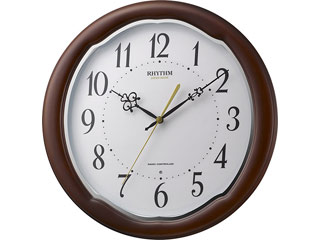 RHYTHM/リズム時計 8MY513SR06 【フィットウェーブアヤW】 電波掛け時計 茶色半艶仕上(白)/木枠/連続秒針/電池交換お知らせ