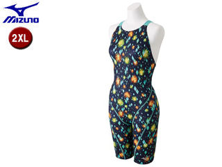 mizuno/ミズノ N2MG8752-83 ストリームアクティバ ハーフスーツ オープン レディース 【2XL】 (ネイビーブルーグリーン)