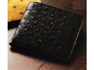 エルシオン 紳士用オーストリッチ財布/ブラック/S-NO8250040BK