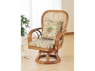 【代引不可商品】籐ハイバック回転座椅子   H28S563