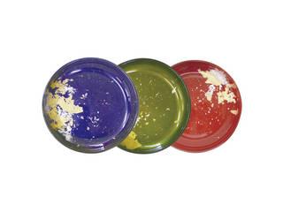 GLASS JAPAN MAJO金箔(ブルー・グリーン)・古代金箔本朱 漆ガラス 小皿3枚揃(食洗機対応)