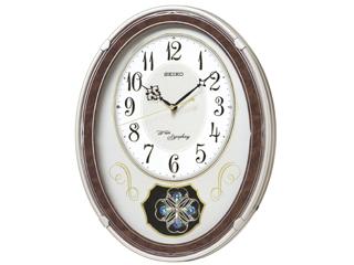 SEIKO/セイコークロック AM259B 電波掛け時計 飾り振り子/おやすみ秒針/メロディ