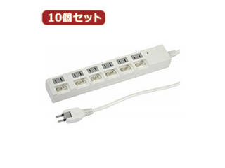 YAZAWA YAZAWA 【10個セット】個別スイッチ付節電タップ6個口2m白 Y02BKS662WHX10