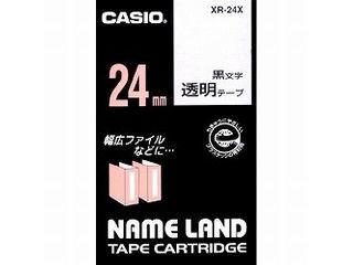 毎週更新 スタンダードテープ 8m 蔵 CASIO カシオ ネームランドテープ24mm 透明 XR-24X