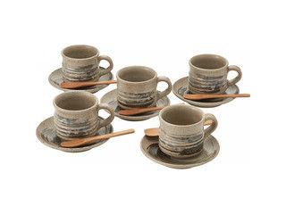 YAMASHO/ヤマ庄陶器 【SHIGARAKI/信楽焼】墨刷毛 碗皿5客揃/G5‐2607ss