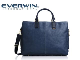 EVERWIN/エバウィン 21597 ジェノバ メンズ 日本製 合皮 ショルダー 2way ビジネスバッグ (ネイビー)