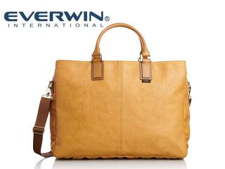 EVERWIN/エバウィン 【納期7月下旬以降】21597 ジェノバ メンズ 日本製 合皮 ショルダー 2way ビジネスバッグ (キャメル)