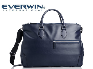 EVERWIN/エバウィン 21599 ナポリ メンズ 合皮 ショルダー 2way ビジネスバッグ 日本製 (ネイビー)