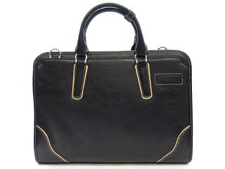 PID/ピー・アイ・ディー PIC103 Onesto/オネスト メンズ ダブルファスナー2層合皮ビジネスバッグ (ブラック)
