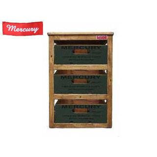 MERCURY/マーキュリー MERW3RKH 収納ボックス リサイクルウッド 引き出し式 3段ラック アメリカ雑貨 (カーキ)