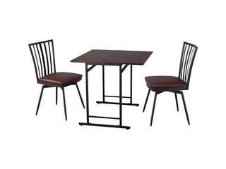 スライド式天板テーブル&回転式チェア2脚セット  TH-S7575CK-K4382 2P