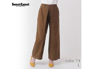 Sweet Camel/スイートキャメル スウェードタッチモールスキン ワイドパンツ【74=シナモン/L】(CA6324)