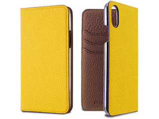 LORNA PASSONI ロルナパッソーニ German Shrunken Calf Folio Case for iPhone XS/X [Yellow×Taupe] LPYETFLIP1858 正規代理店 品質保証ポリシー付きケース