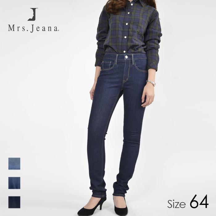 Mrs.jeana/ミセスジーナ レディース ストレッチタイトストレート デニム パンツ (W5 ワンウォッシュ/サイズ64) MJ4471