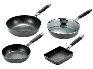 よこやま ネオストーンプレミアム4点セット(フライパン26cmガラス蓋付&フライパン20cm&いため鍋&玉子焼)