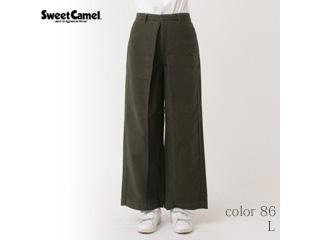 Sweet Camel/スイートキャメル スウェードタッチモールスキン ワイドパンツ【86=オリーブ/L】(CA6324)