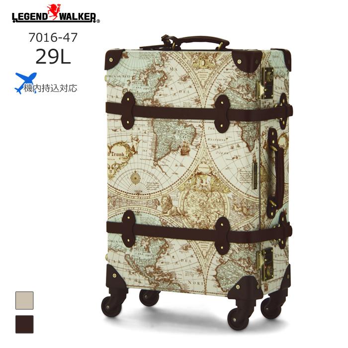 World Trunk/ワールドトランク ・7016-47 地図柄トランクケース ルネサンス(30L/地図柄ブラウン) T&S(ティーアンドエス) 旅行 スーツケース キャリー 機内持ち込み 小さい 国内 Sサイズ おしゃれ かわいい