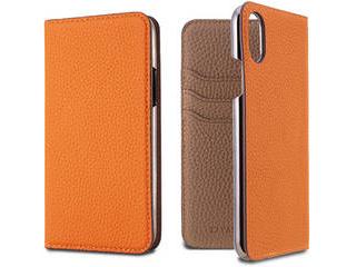 LORNA PASSONI ロルナパッソーニ German Shrunken Calf Folio Case for iPhone XS/X [Orange×Taupe] LPORTFLIP1858 正規代理店 品質保証ポリシー付きケース