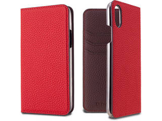 LORNA PASSONI ロルナパッソーニ German Shrunken Calf Folio Case for iPhone XS/X [Red×Dark Brown] LPRDBFLIP1858 正規代理店 品質保証ポリシー付きケース