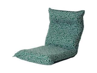 唐草柄低反発リクライニング座椅子 グリーン ST-2001K-GR