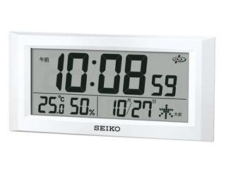SEIKO/セイコークロック GP502W 衛星電波クロック 温湿度表示/カレンダー/掛置兼用/大型液晶